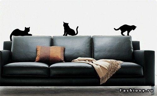 Виниловые наклейки для декора интерьера / наклейки коты