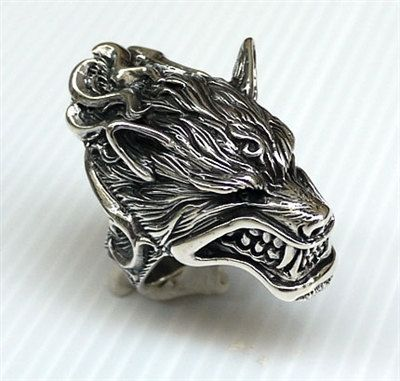 Wolf Werewolf Head Heavy 925 Sterling Silver Mens Rings ~New Sz 6-14 Wolf Ring Rocker Biker Ring, Biker Jewelry, Gothic Ring, Gothic Jewelry