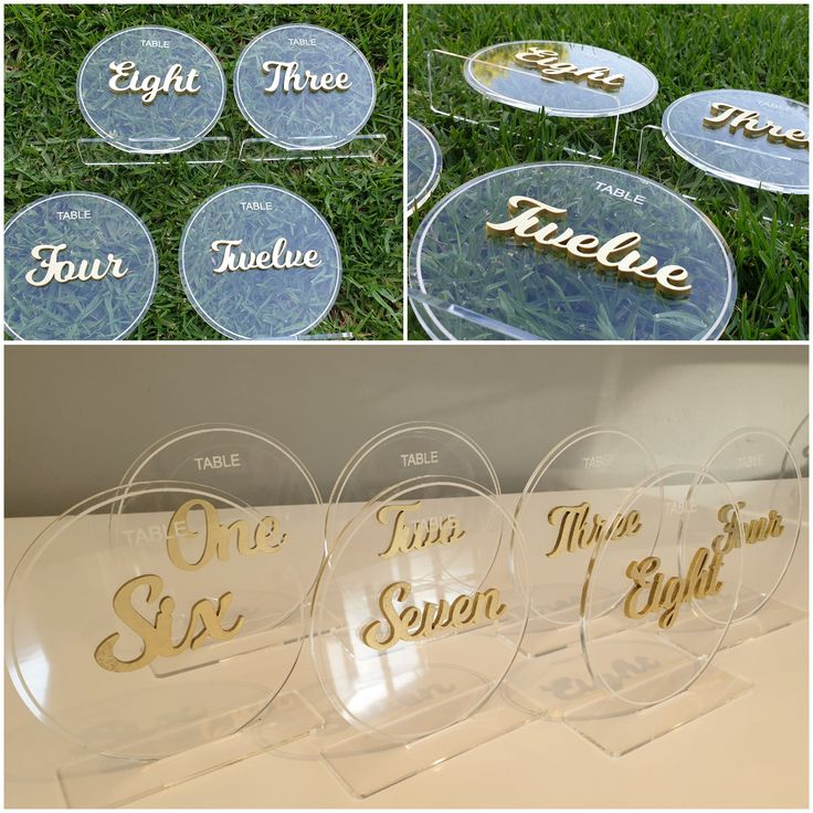 Perspex table numbers with raised wood letters Mel