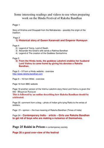 Hindu festival - Raksha Bandhan info / activities