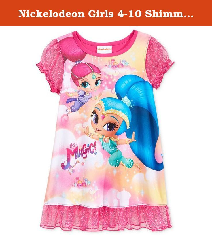 Nickelodeon Girls 4-10 Shimmer & Shine Nightgown (4). This lovely nightgown from Nickelodeon features her favorite characters from Shimmer & Shine. Ruffle sparkly sleeves, hem, bright colors and graphics make this gown extra magical.