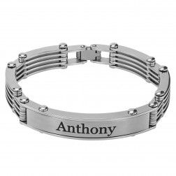 Stainless Steel Brushed Finish Personalized Bracelet (11x52mm).  $37.50