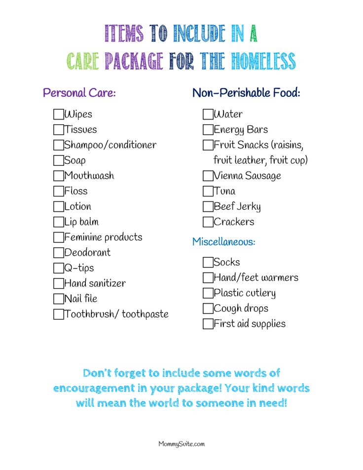 Free printable checklist to collect items to include in a care package for the homeless in your community!