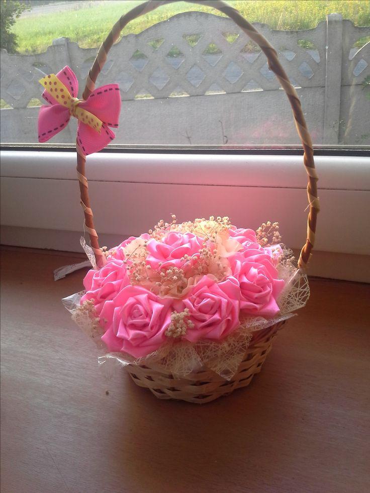 корзинака канзаши с розовоми розами
