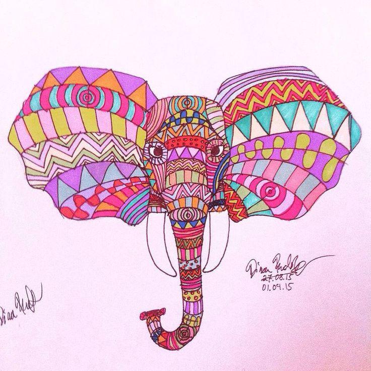 patterned elephant (coloured)