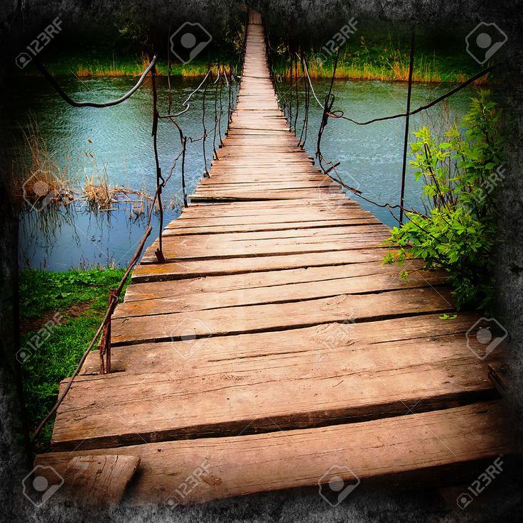 35617931-rural-landscape-old-wooden-suspension-bridge-over-the-river-Stock-Photo.jpg (1300×1300)