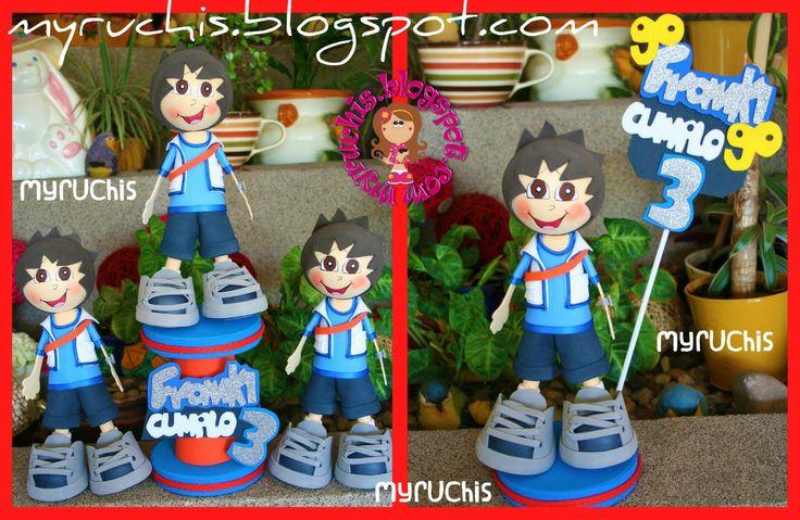 Centros de Mesa Infantiles. Fiesta Go Diego Go. myruchis.blogspot.com
