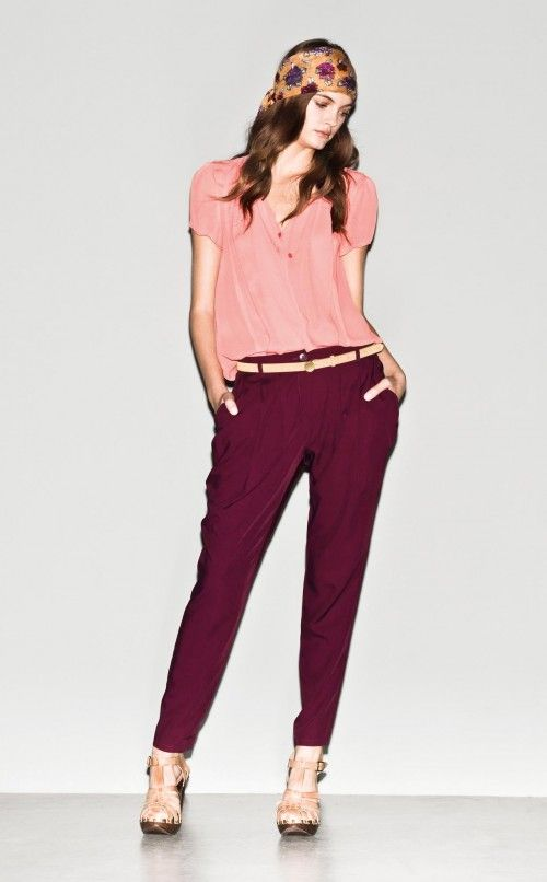 So Sixties, isn't it?     #Shirt #Trousers #Belt #Scarf #Sandals Spring/Summer 2013 #Sisley #Woman Collection
