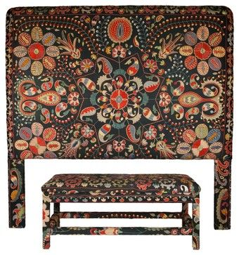 Headboard & Bench, Black Uzbek Suzani - eclectic - headboards - other metro - Seret & Sons   like the idea of matching headboard & bench as only colors in room.