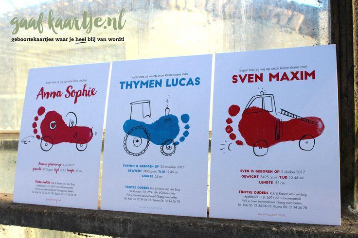 Gaafkaartje | unieke ontwerpen | geboortekaarten | geboortekaartjes | collectie 3 | voeten | acryl | inkt | lijnen | kassen | westland | aquarel | | racemonster | stoer | uniek | Voetafdruk| brandweerwagen | brandweer | tractor