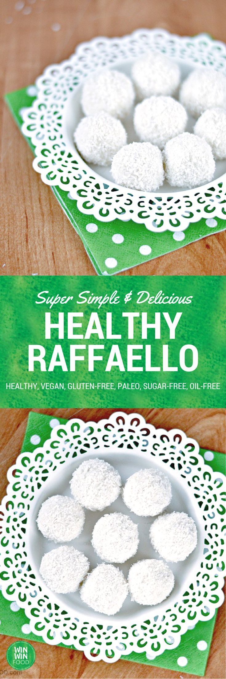 Healthy Raffaello | WIN-WINFOOD.com #healthy #vegan #sugarfree #glutenfree #oilfree #paleo