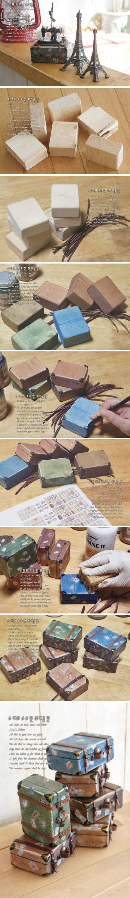 This is a fun pin. You have to pay good attention to detail unless you read Chinese. You use wooden blocks and some leather straps to create the illusion of vintage suitcases. Cute decorative gift item.