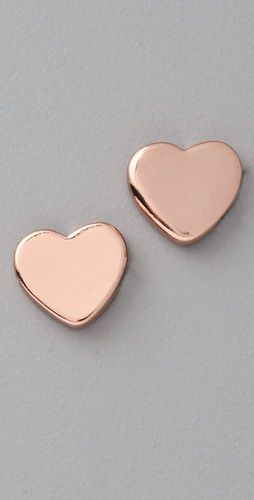 Marc by Marc Jacobs Mini Charm Heart Stud Earrings - been looking for rose gold earrings!