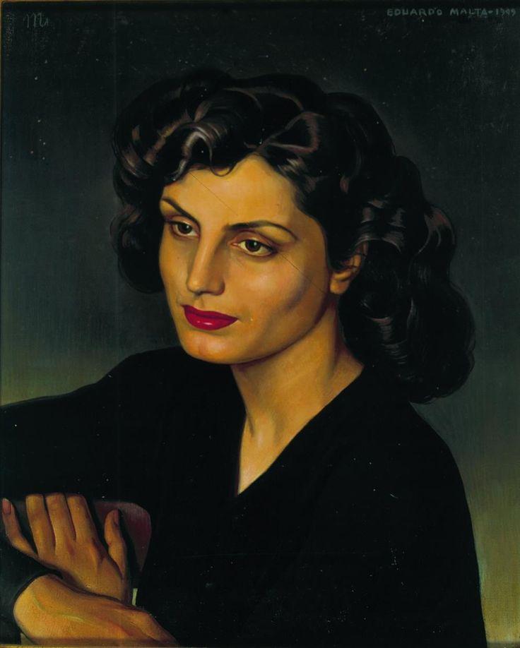 Amalia Rodrigues, quadro pintado a óleo em 1940, por Eduardo Malta