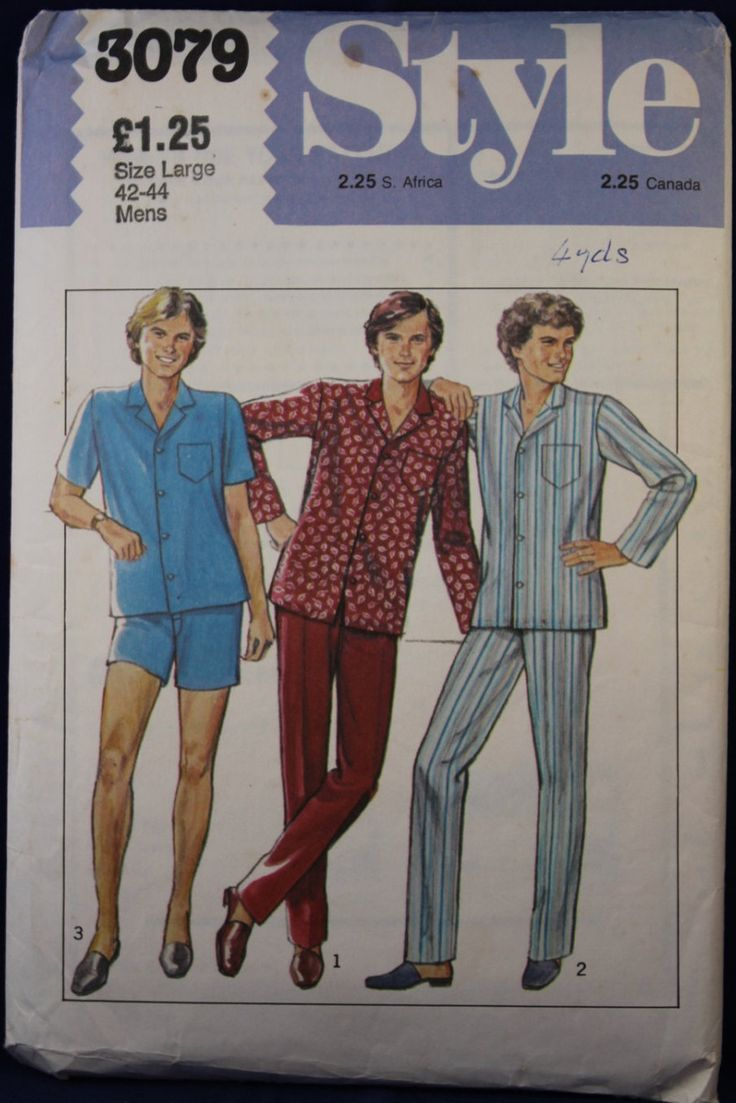 Vintage Sewing Pattern for Men's Pyjamas in Size Large - Style 3079 by TheVintageSewingB on Etsy