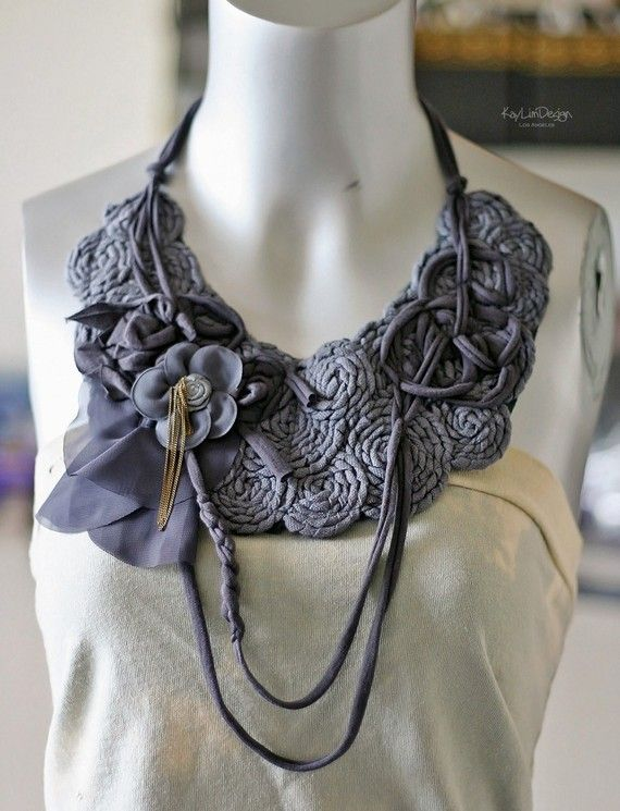 Cotton Bib necklace with metal chain and flower trim by KayLim