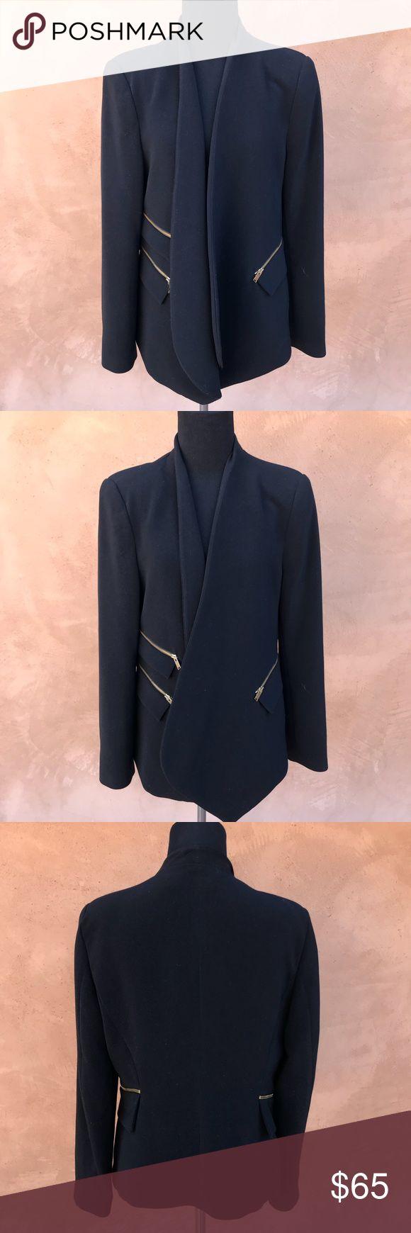 {Zara Basic} Open Collar Zipper Blazer Black