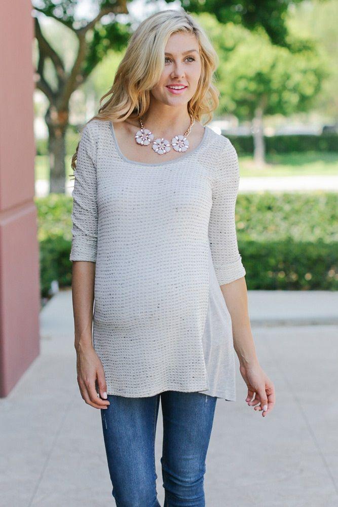 Ivory Grey Knit 3/4 Sleeve Maternity Tunic from PinkBlush Maternity www.pinkblushmaternity.com #maternity #fashion