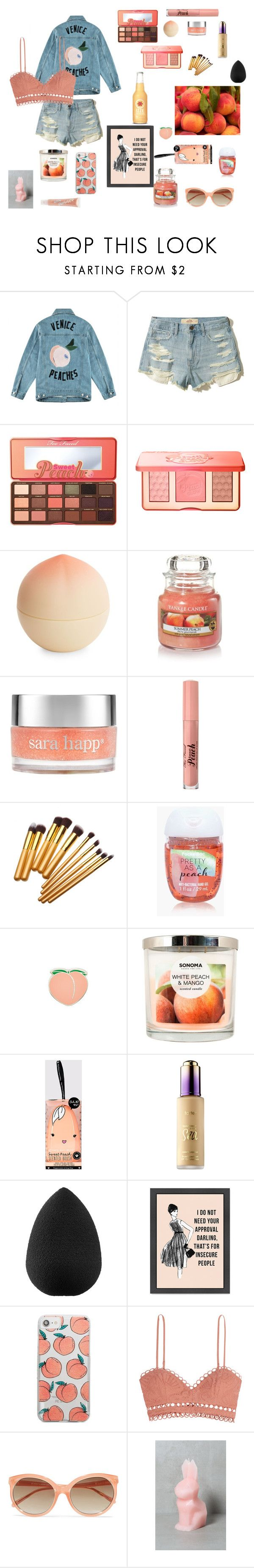 """""""Peaches🍑"""" by beebooonbroadway ❤ liked on Polyvore featuring Être Cécile, Hollister Co., Too Faced Cosmetics, Tony Moly, Yankee Candle, Sara Happ, PINTRILL, SONOMA Goods for Life, tarte and beautyblender"""