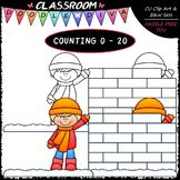 (0-20) Counting Snow Fort Blocks - Sequence, Counting & Math Clip Art & B&W Set