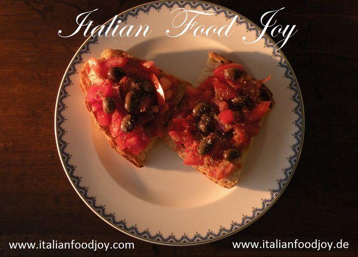#Good# habits & #Quality #foods #Kitchen #Blog - #Essen - #lifestyle #Kuchen-blog #Bruschetta with #tomatoes, extra virgin #olive #oil, #oregano and #olives #Olivenol #Bruschetta #italiensiche #snack #ingredients #zutaten on #Italian #Food Joy www.italianfoodjoy.com for EU www.italianfoodjoy.de fur A und D