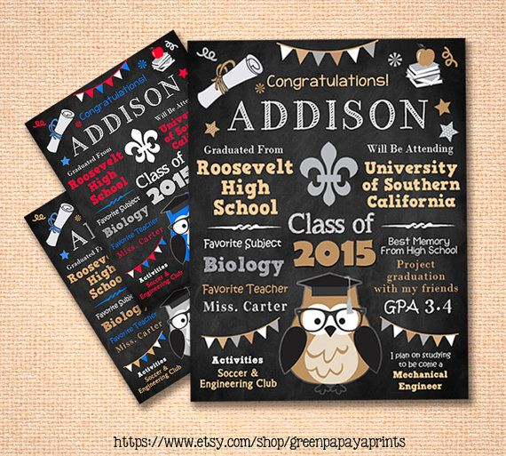 This graduation poster design would be a great centerpiece for your graduation party! You will receive a digital file through email that you can print yourself. It would also be a great gift to give someone who is just graduating. I nice personalized graduation gift and keepsake. This design features an owl, stars, a diploma and apple on top of books.