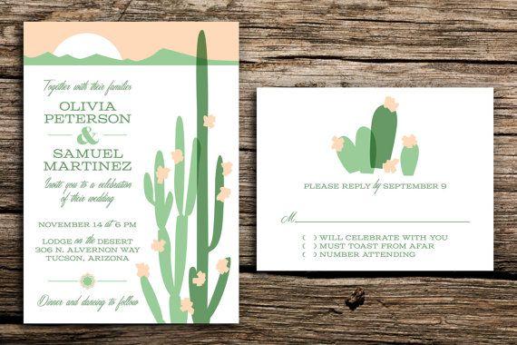 Wedding Invitations Az: Modern Desert Wedding Invitation Set // Arizona Wedding