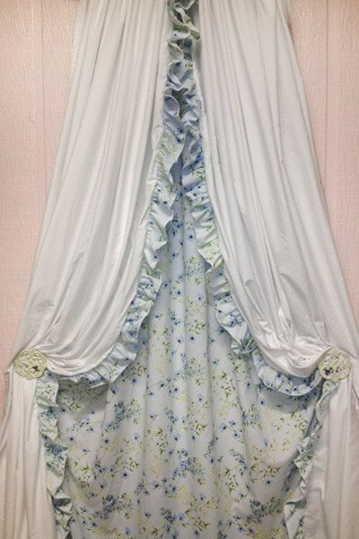 Shabby chic curtains blue floral drapes window Shabby chic curtain window