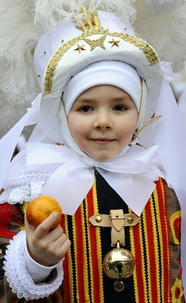 During Carnival in the town of Binche, Belgium.