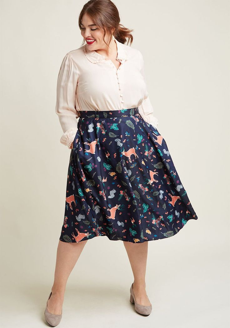 Marvelous Midi Skirt with Pockets in Forest Critters You definitely have that swing when you step out in this navy blue midi skirt! Part of our ModCloth namesake label, this circle skirt touts a vintage-inspired, high-waisted design covered in colorful deer, squirrels, field mice, and fronds. Plus, it touts belt loops, pockets, and a silky lining - all of which will surely influence a plethora of dance-worthy ensembles.