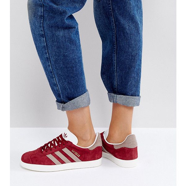 adidas Originals Gazelle Trainers In Burgundy ($100) ❤ liked on Polyvore featuring shoes, sneakers, red, red trainers, burgundy shoes, red jersey, adidas sneakers and burgundy sneakers