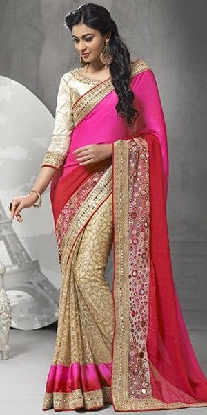 Sizzling Pink And Red Net Saree With Blouse.