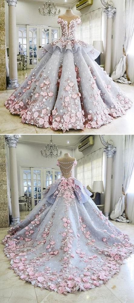 Pretty Quinceanera Dress Ball Gown Flowers Evening Dress Long Backless Wedding Prom Gowns Formal Dress For Teens Brides