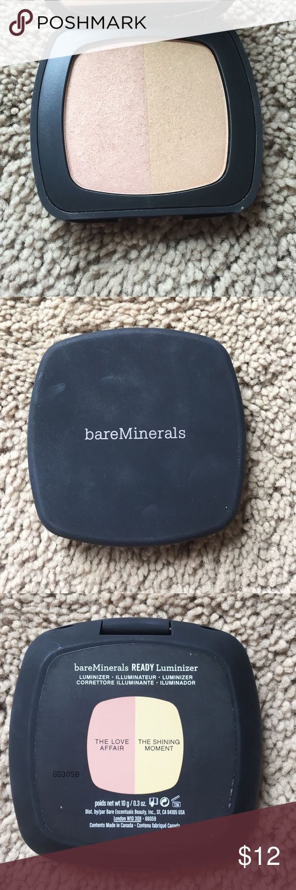 Bare minerals pressed highlighter duo Light, natural looking highlighter/luminizer. One pink toned one gold toned. Swatched only bareMinerals Makeup Eyeshadow