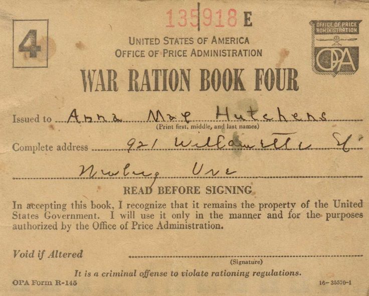 My War Ration Stamp book. 1942
