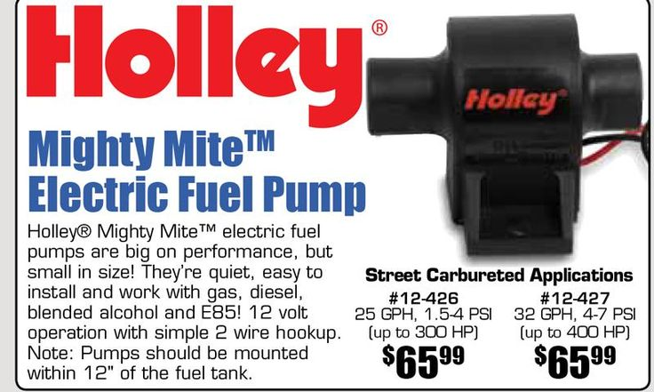 Mighty Mite Electric Fuel Pump Starting From $65.99 EA.  Holley® Mighty Mite™ electric fuel pumps are big on performance, but small in size! They're quiet, easy to install and work with gas, diesel, blended alcohol and E85! 12 volt operation with simple 2 wire hookup. Street Carburetor Applications.  https://aadiscountauto.ca/special/1063/mighty-mite-electric-fuel-pump.html  #Holly #MightyMite #ElectricFuelPump #FuelPump #HollyFuelPump #AADIscountAuto #AAPerformance