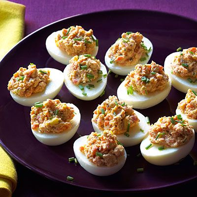 Cocktails & Appetizers Party: Deviled Eggs with Salmon and Two ...