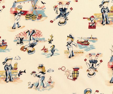 vintage sea theme fabric from the 1920s  #vintage #vintageseas #sea #nautical #nauticalfabric