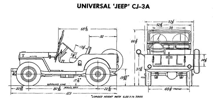 Jeep Cj 3a Size Specs Jeep Info Pinterest Tech