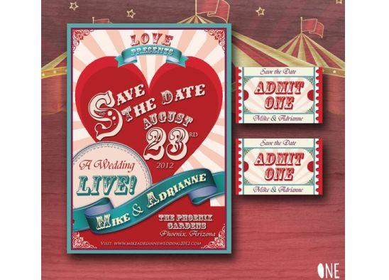 Convites de casamento inspirados nos espetáculos de circo