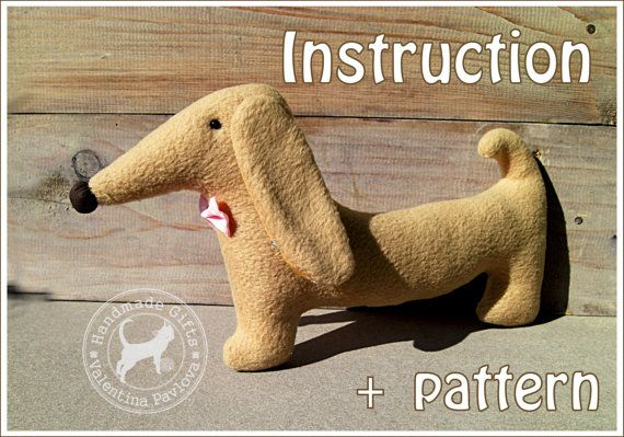 Toy dachshund Alex.PDF Pattern and Instructions.Dog dachshund sewing patterns. You can make your favorite soft toy or pillow dachshund using my