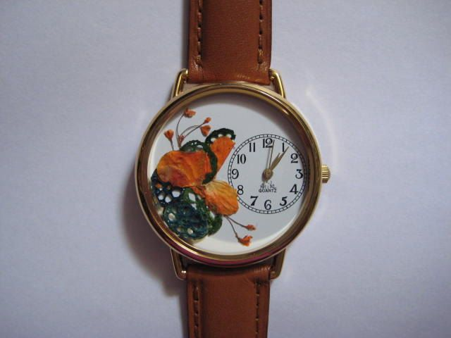 Womens Watch, Leather Wrist Watch, Orange Woman Watch, Turquoise Ladies Watch by PurplePetalStudio on Etsy