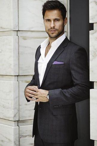 Men's Charcoal Plaid Suit, White Dress Shirt, Light Violet Cotton Pocket Square