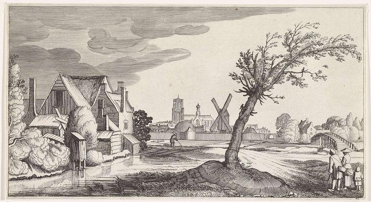 Jan van de Velde (II) | Familie bij een huis met een stad op de achtergrond, Jan van de Velde (II), 1639 - 1641 | Een (bedelaars-)familie bij een boom en een huis aan een sloot. De man loopt met krukken. Op de achtergrond een stad. 27ste prent van een serie met 36 prenten van landschappen, verdeeld over zes delen.
