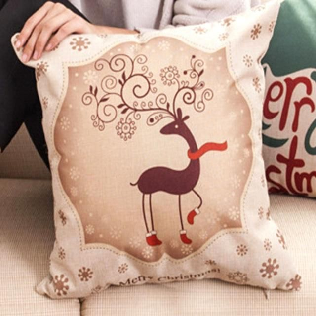 Tronzo Hot Christmas Decorations For Home Reindeer Jute Pillow Cover Case Merry