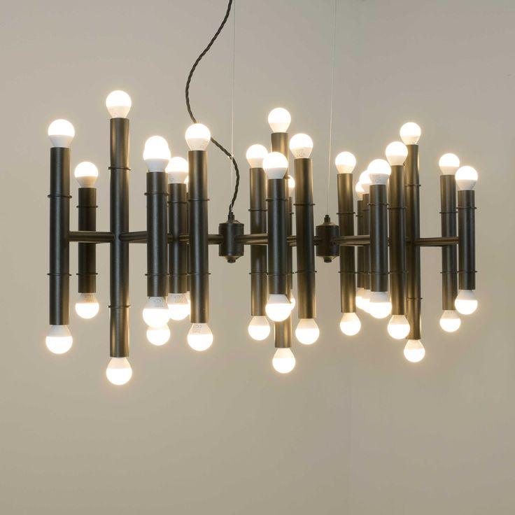 Lámpara  vintage rectangular formada por  cilindros doble bombilla