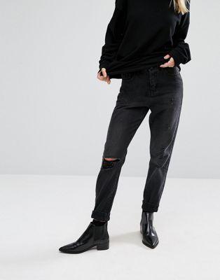 Vero Moda – Mom-Jeans im Used-Look