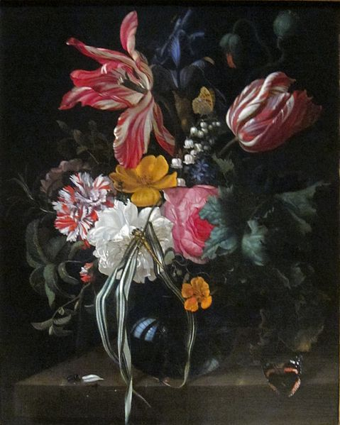 Vase of Tulips, Rose, and Other Flowers with Insects  Maria van Oosterwijck, 1670