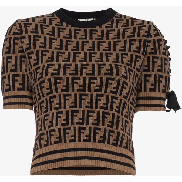 d4f3844b696 Fendi Knitted T Shirt With Logo Pattern ($970) ❤ liked on Polyvore  featuring tops, t-shirts, brown, fendi t shirt, brown t shirt, logo design t  shirts, ...
