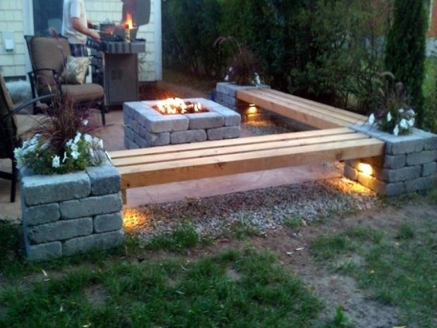 Picture Of Fire Pit Bench Ideas Back Patios Rustic Patio Fire Pit Patio With Fire Pit Bench Ideas Backyard Fire Outside Fire Pits Fire Pit Landscaping
